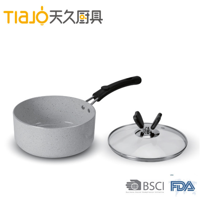 Aluminum saucepan with ceramic marble coating