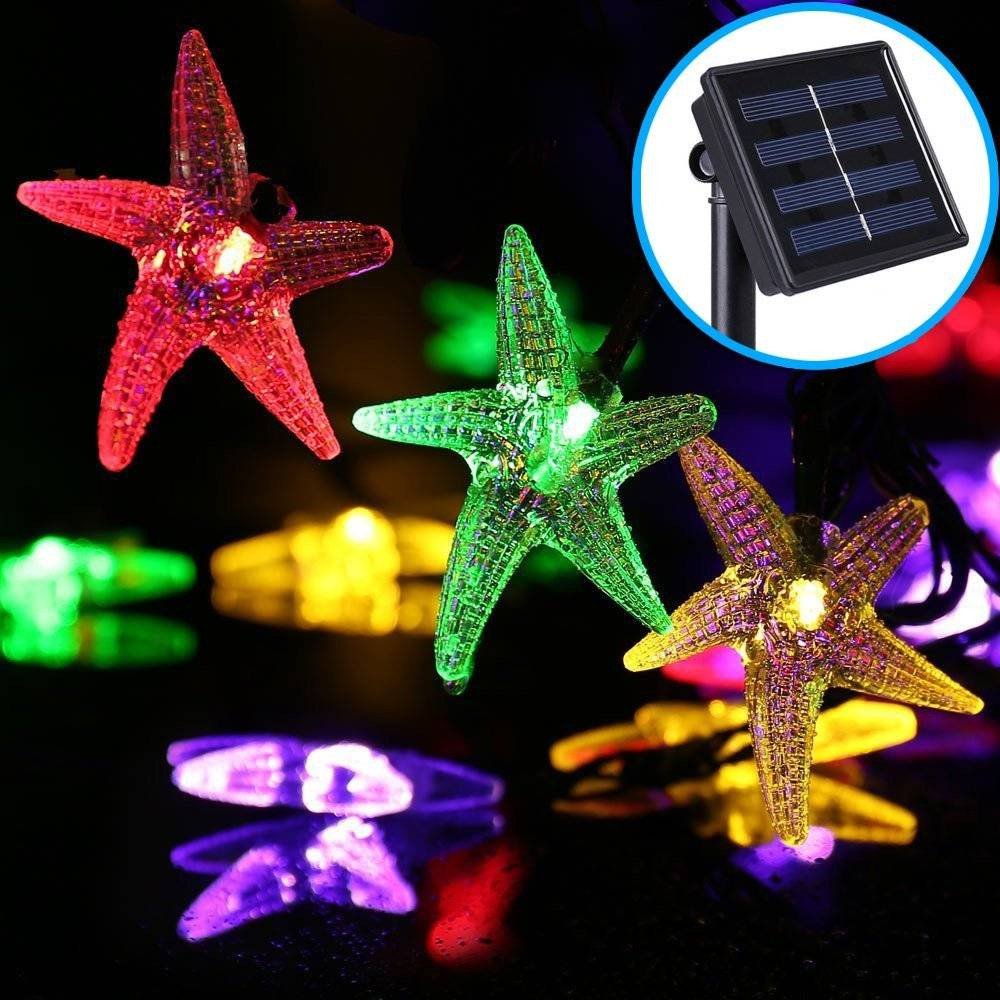 Starfish Solar Powered String Lights 20ft 30 LED Outdoor Fairy Garden Party Lights