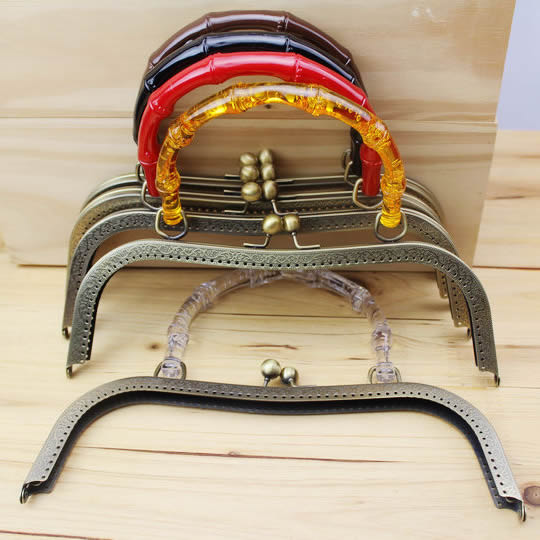 26cm Flower Bag Handle Clutch Three Color Purse Frame Metal Bag Clip