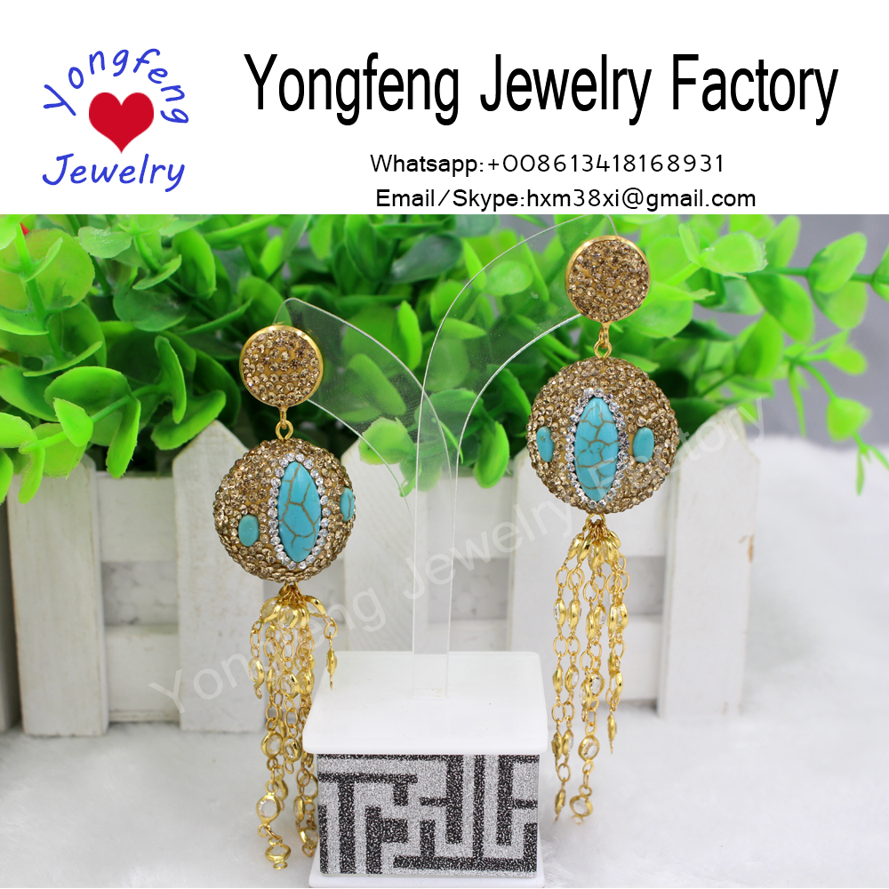 fashion round crystal and turquoise dangle earrings,bronzed chain tassel set crystal earrings