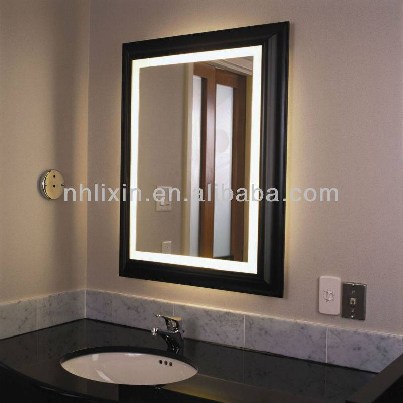 Square LED Backlit Wooden/PS Framed Bathroom Mirror for hotel