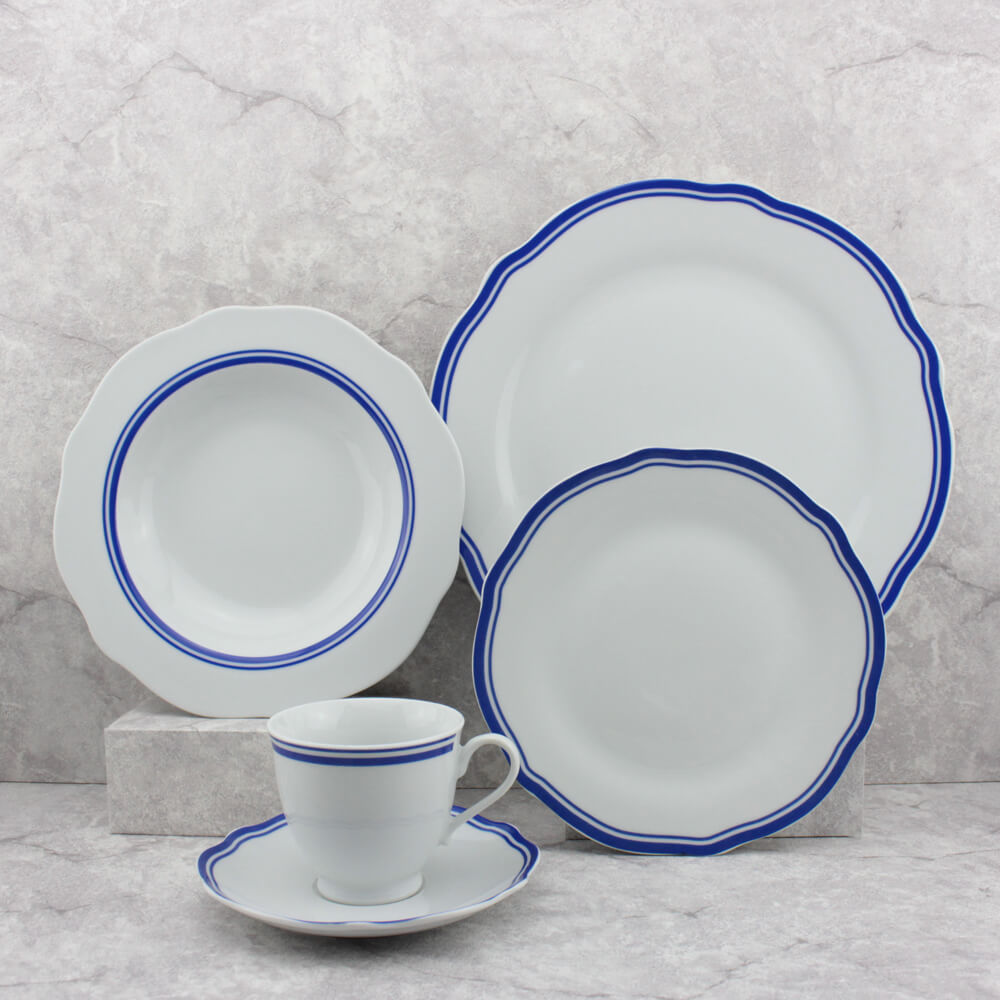 blue trim and white dinnerware