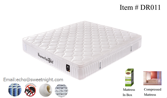 Vaccum compressed mattress with mini pocket spring on top, bed in box