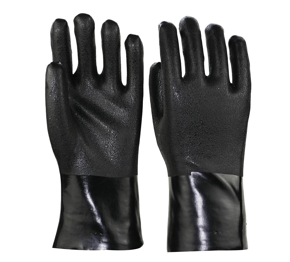 27cm black sandy finished PVC working saefty gloves
