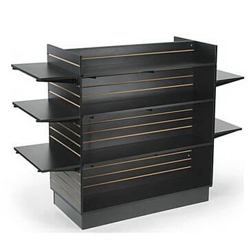 """H"" Shaped Slatwall Fixture w/ 12 Shelves - Black"