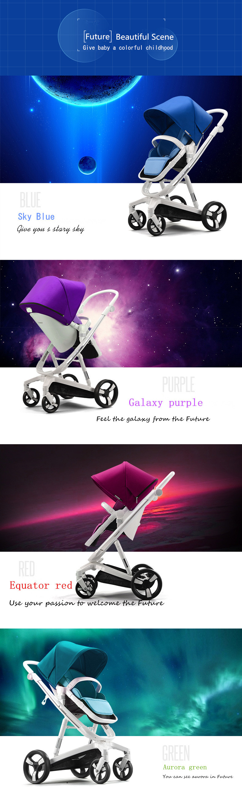 Luxury Baby Stroller With Cushion Child Cart Seat Cushion, Pushchair with Cotton pad Thick Mat