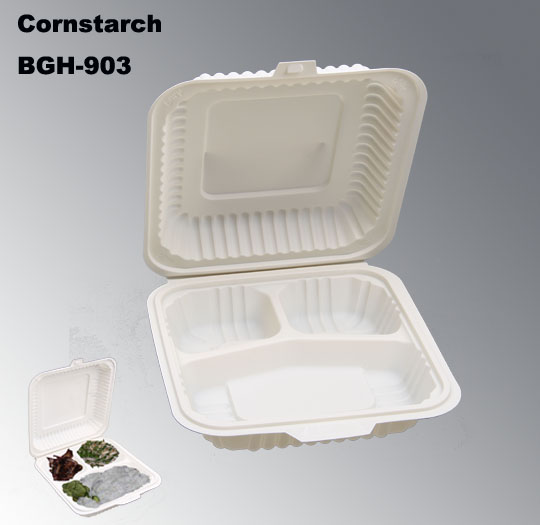 Biodegradable Disposable Corn Starch Fast Food Box with 3 Compartments