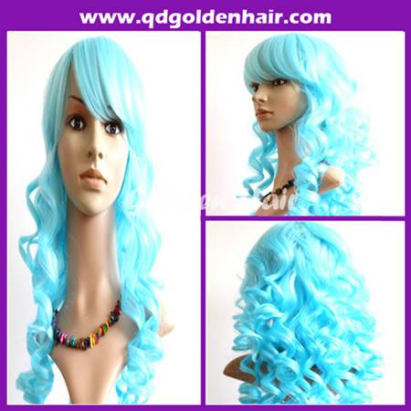 Cheap Price Hot Sale Synthetic Heat Resistant Light Blue Wig Cosplay Wig