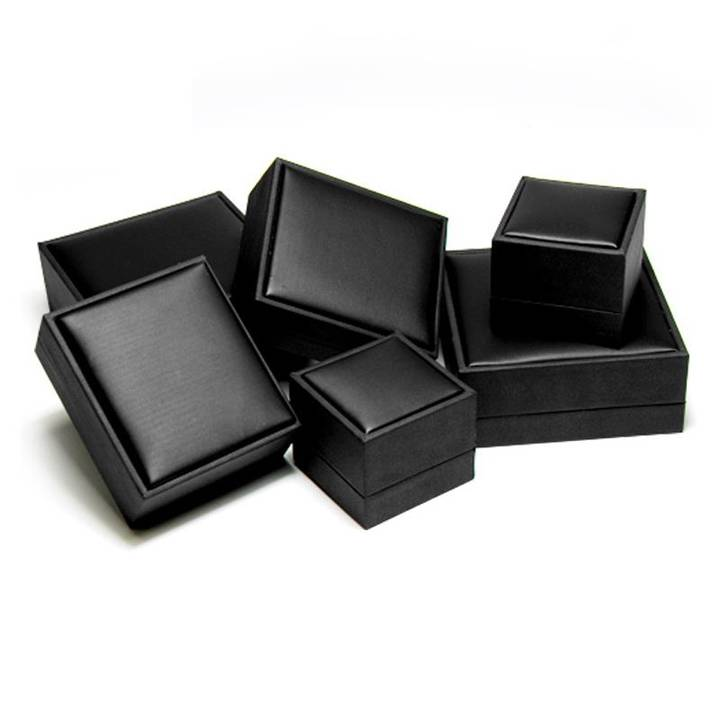 Black Leatherette Jewelry Boxes of Different Sizes