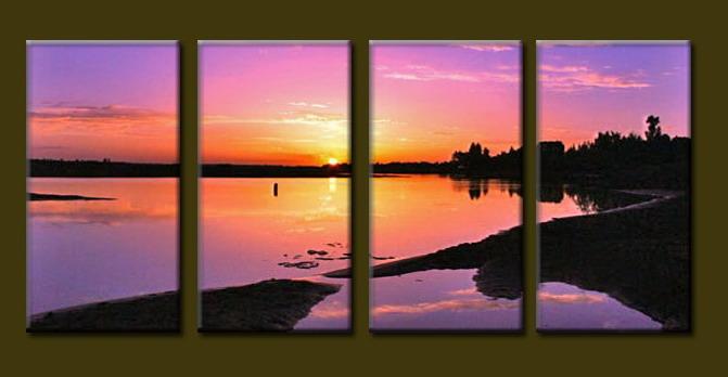 Modern Oil Paintings on canvas handmade sunrise painting -set10097