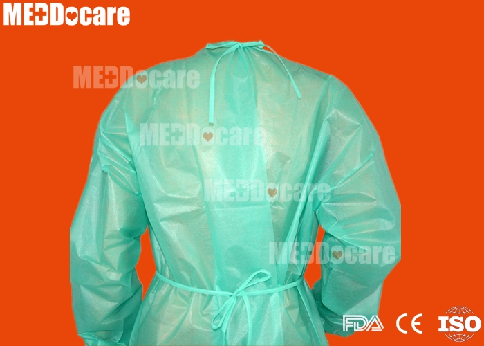 disposable waterproof nonwoven covered plastic PP+PE isolation gown