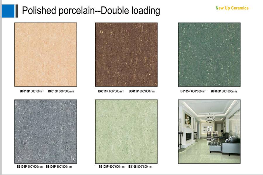 Double loading polished porcelain floor tiles with different color and design
