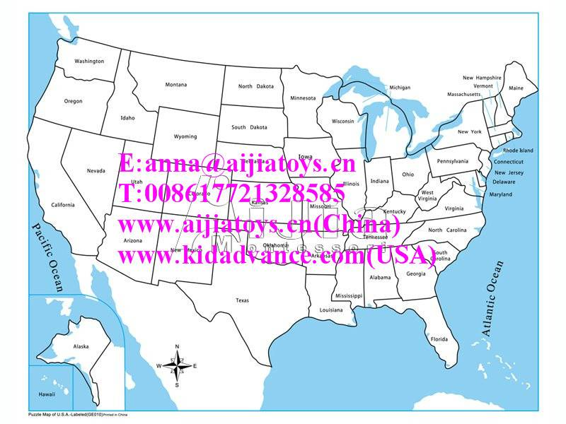 Montessori Labeled USA Control Map,montessori materials toys