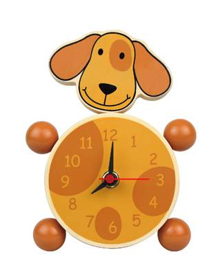 Wooden Table Clock-dog