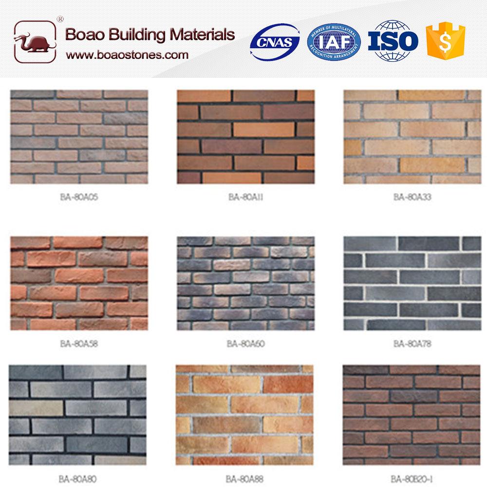 decorative multicolor thin artificial faux brick panel veneer wall siding