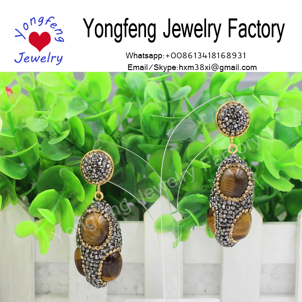 natural handmade tiger's eye stone earrings,fashion jewelry
