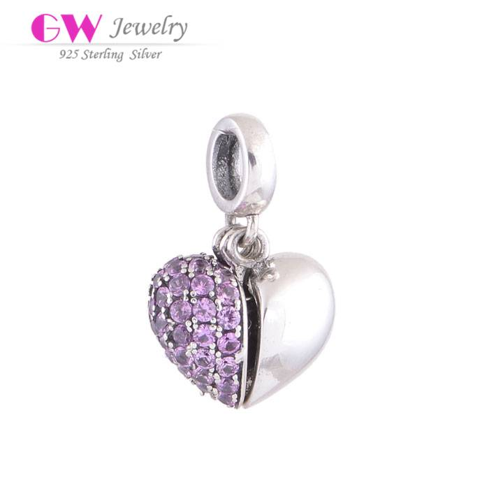 Wholesale DIY Jewelry Flexible Stone Paved Heart Sterling Silver Charm S050