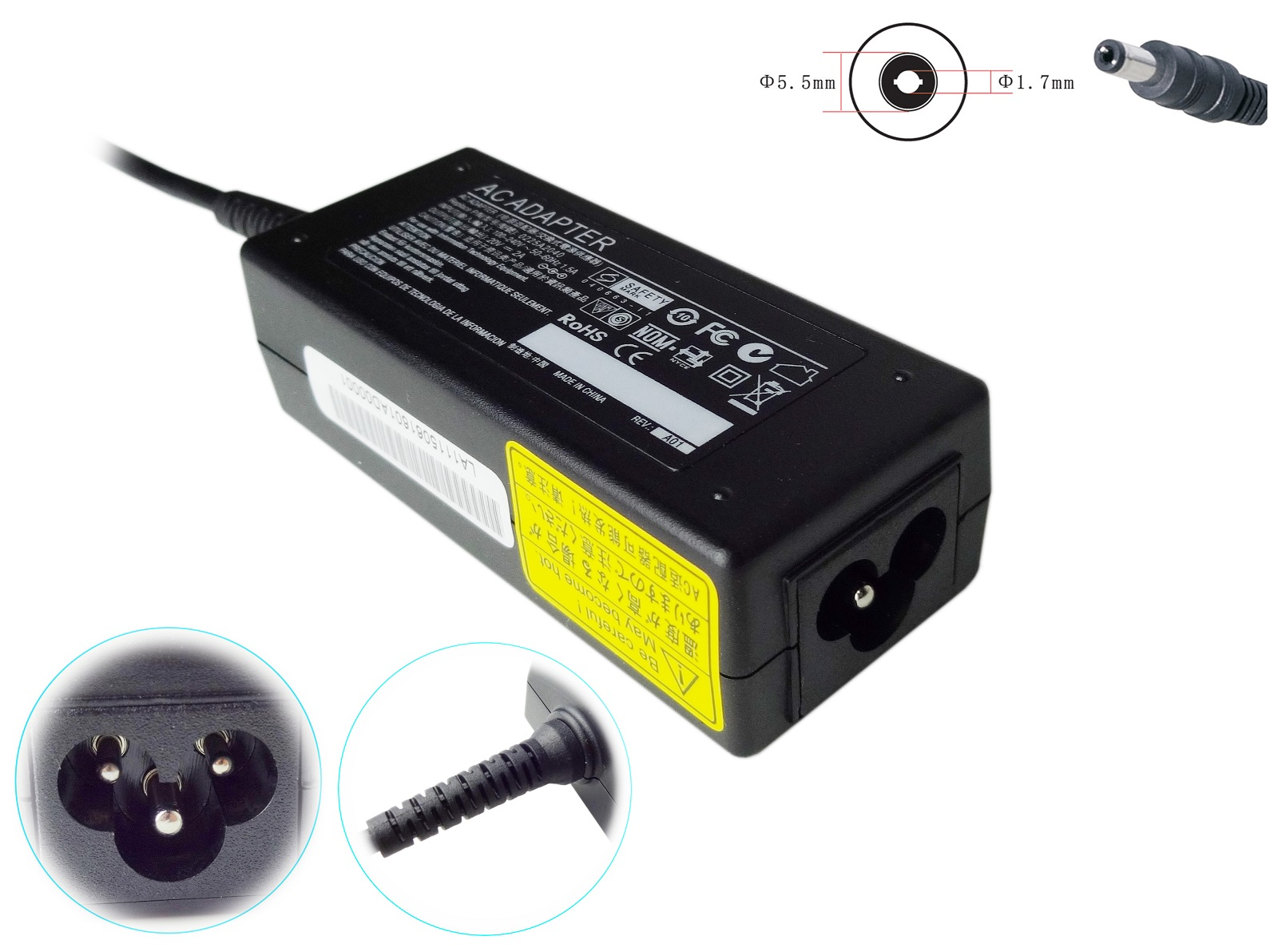 AC/DC 12V 1A power adapter for laptop