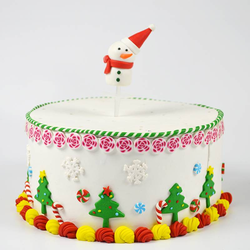 Polymer clay Christmas snowman cake decoration China supplier