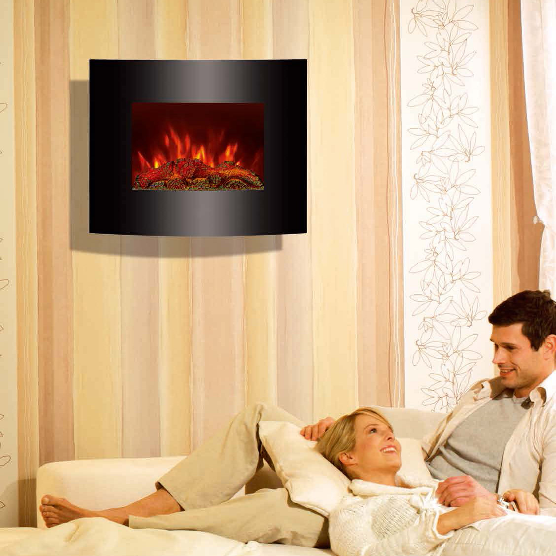 "26""Black Curved Tempered Glass Wall Mounted Electric Fireplace Heater(Log Fuel) EF455S/EF455SLB room"