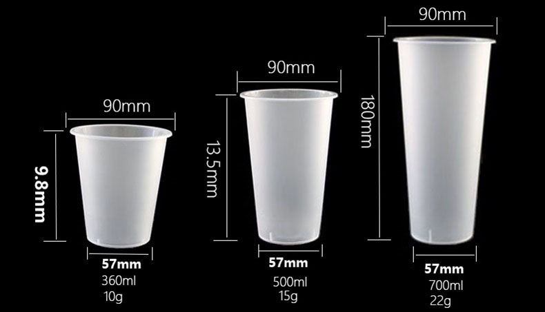 Customized Customized 12oz 16oz 24oz Disposable PP frosted Injection Molding Cup With Lid