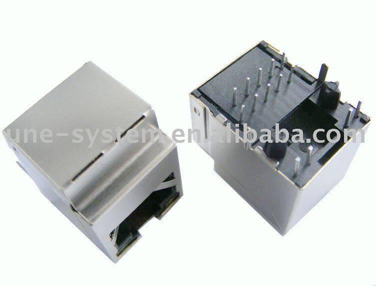 Gigabit Vertical RJ45 connector with LEDs