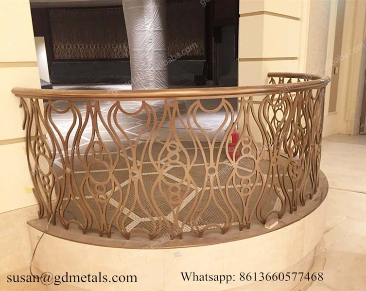 Laser Cut Rose Golden Balcony Stainless Steel Railing For Villa