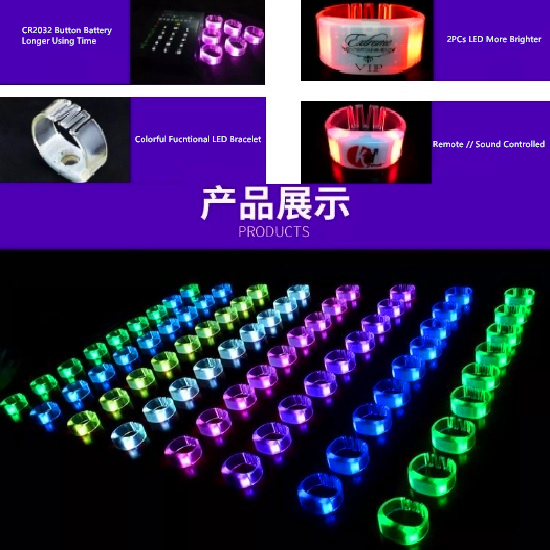 LED PVC Luminous Bracelet for Entertainment Event Party