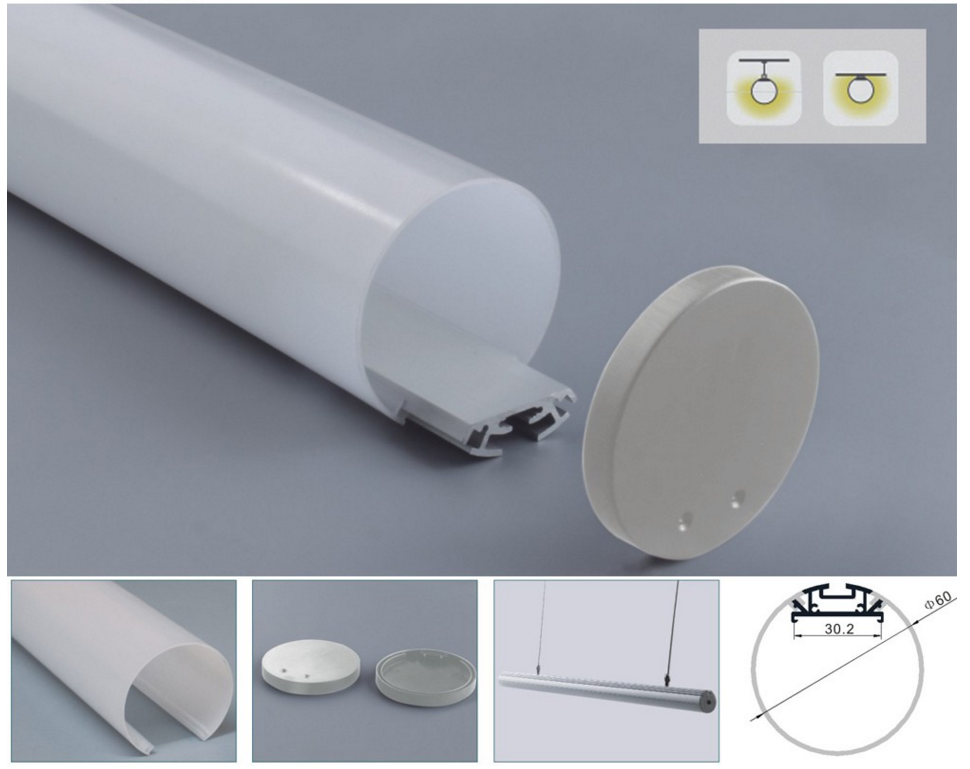 led aluminum profile extrusion with led profile connector for led light