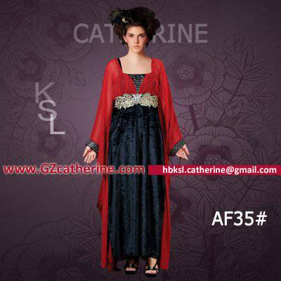 Red Chiffon Dark Blue Velvet Bat Sleeves Maxi Abaya Amazing Women Kaftan Dress for Winter