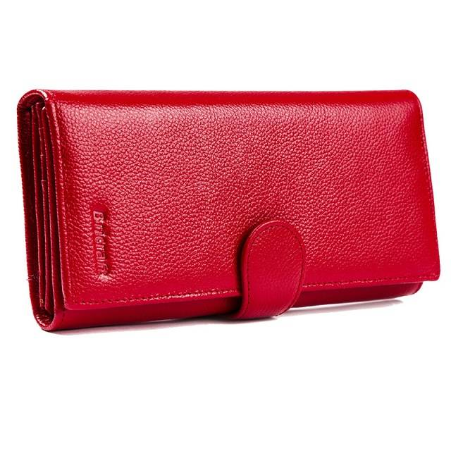 Luxury red womens trifold rfid wallet  leather purse with gift box packing