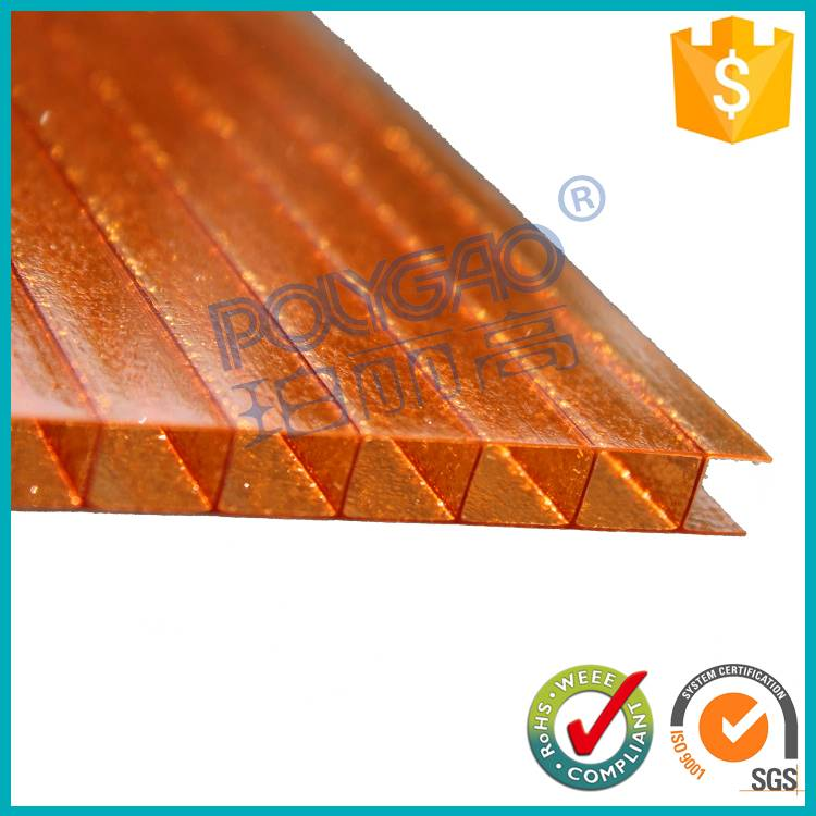 color Polycarbonate frosted twin wall pc hollow sheet price used for greenhouse