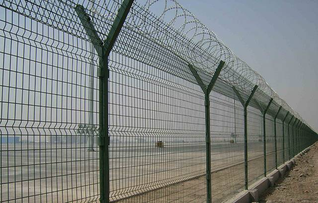 Airport Fence with Razor Barbed Wire