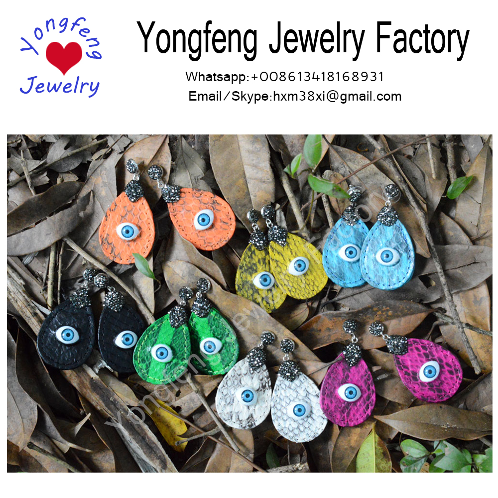 Wholesale snakeskin teardrop dangle earrings with evil eye,Reptile Jewelry