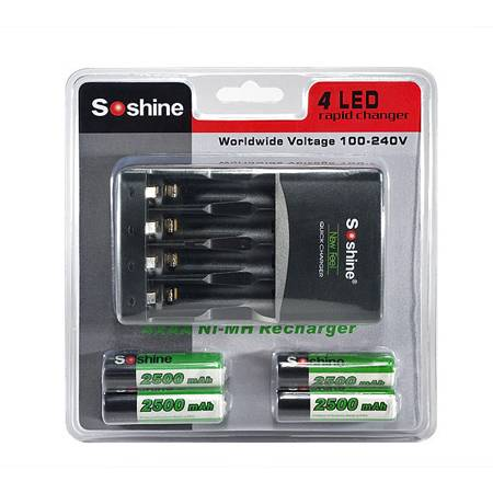 Soshine Ni-MH 1-4pcs AAA AA Battery Intelligent Charger with 4pcs AA2500mAh batteries