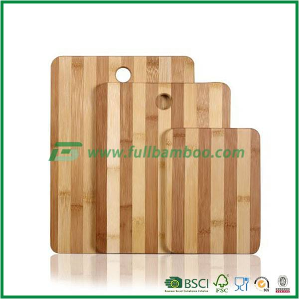 100% Natural Bamboo Chopping Cutting Board with Thumb Hole and Contrasting Stripes, 3-Piece Set, Foo