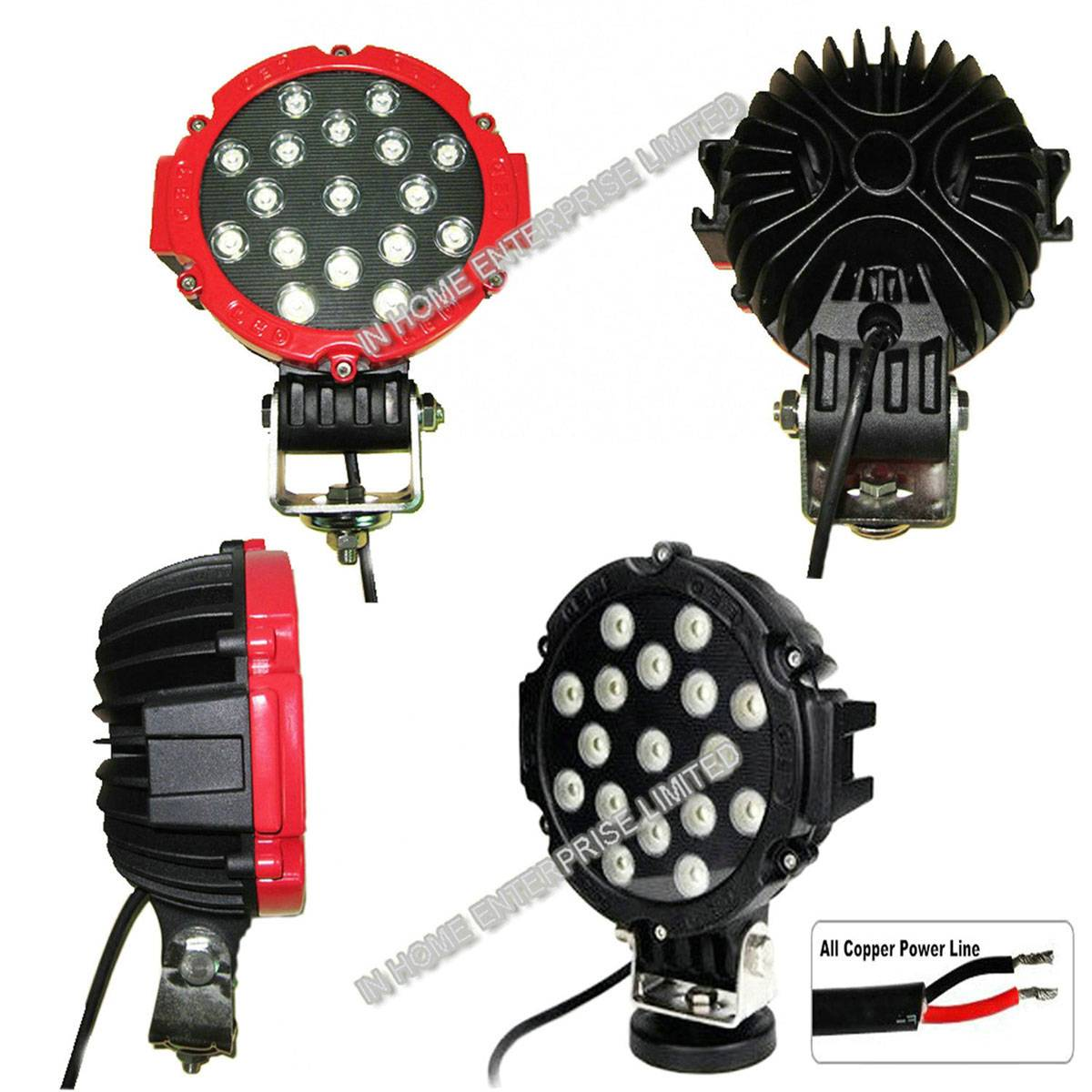 10-30V Round Super Bright IP67 LED Work Lamps 51W 4680LM LED Off Road Light
