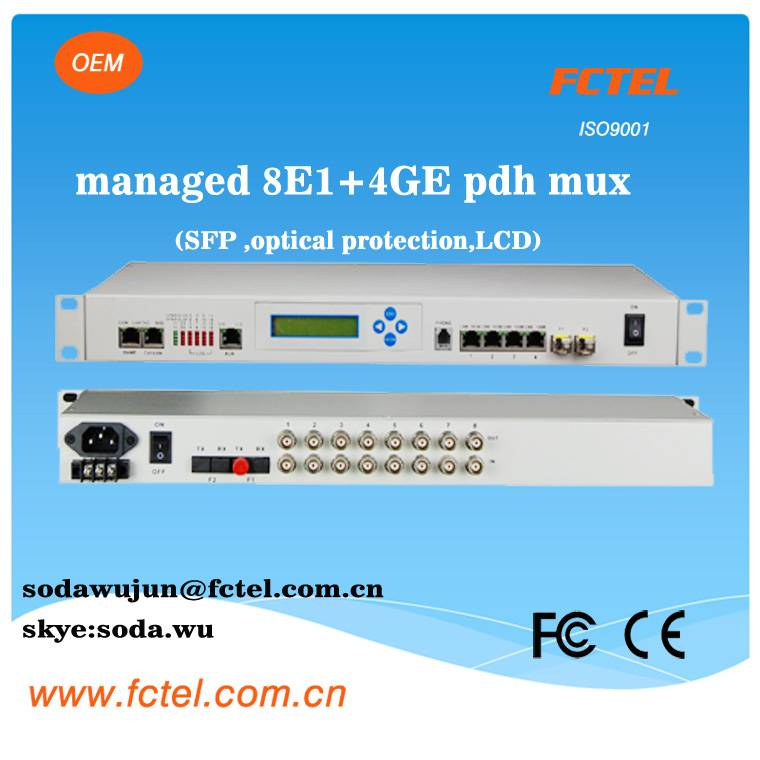 snmp managed sfp optic protection 8E1 +4GE fom pdh mux