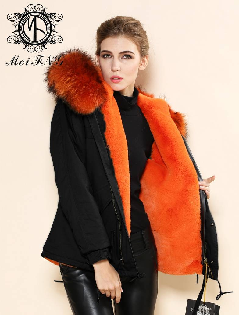 Women's raccoon fur hooded jacket
