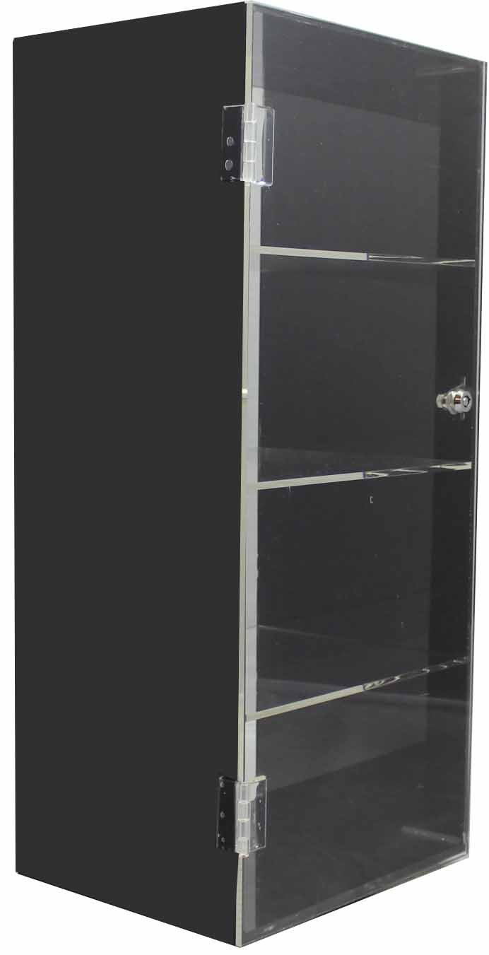 Acrylic counter top display case box lucite - black / clear rotating 360 with 4 shelves and lock