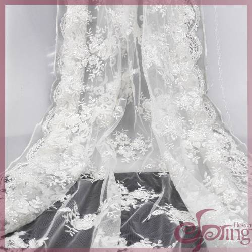 White bridal lace fabrics,sequin embroidery mesh fabric