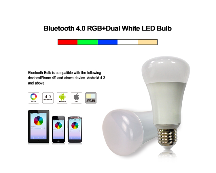 Mi light smart bluetooth LED Bulb light RGBW 6W led smart home lighting wireless rgb bluetooth bulb