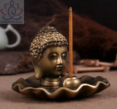 Golden Buddha Head Ceramic Aromatherapy Incense Holder for Incense Stick,Incense Cone,Buddha Craft H
