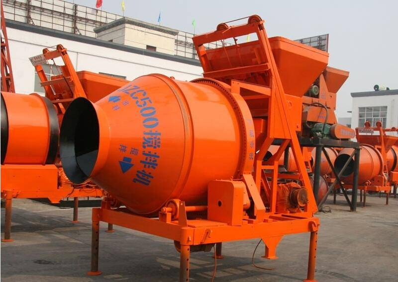 China JZC500 mobile self loading concrete mixer for buiding