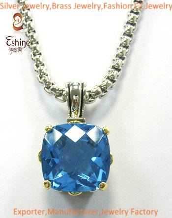 Exquisite Sterling silver jewelry Designer inspired Pendant with Blue Tanzanite CZ stones