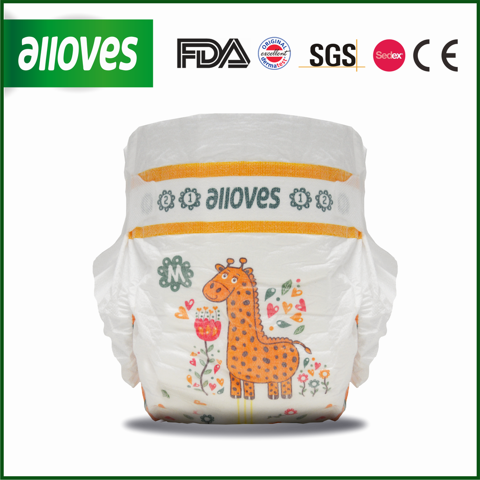 Alloves brand baby diapers best quality SAP diapers giraffe unisex printed diapers for baby