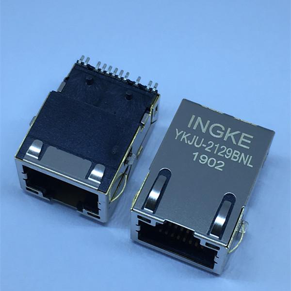 Ingke YKJU-2129BNL 100% cross 7498011122 Single Port 100 Base-T SMT RJ45 LAN Jacks with Integrated M