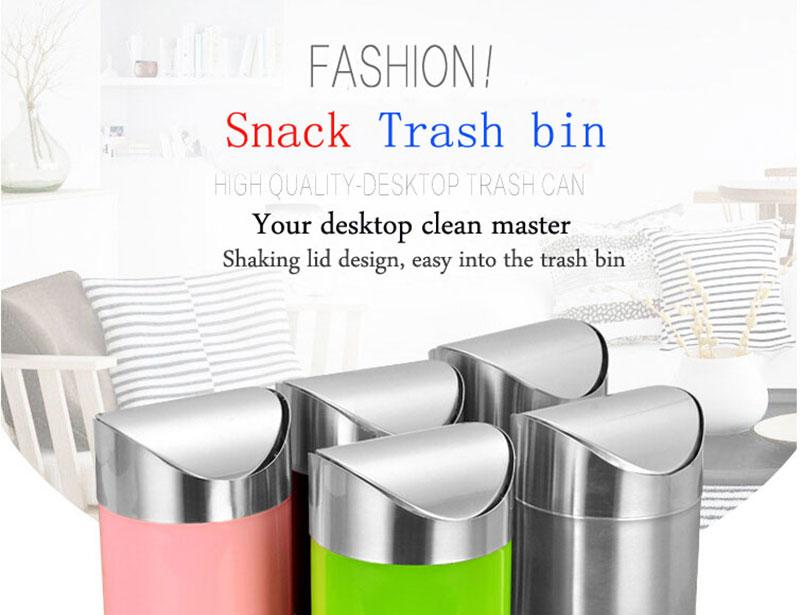 Mini Desktop Snack Trash Bin With Lid For Home and Car