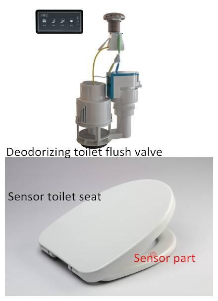 Sensor toilet seat with deodorizing toilet flush valve