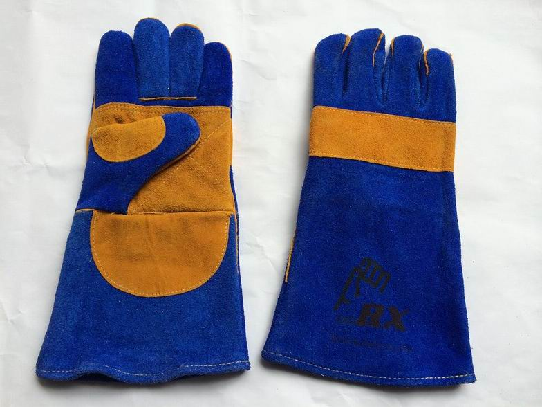 Safety welding working cow split leather glove